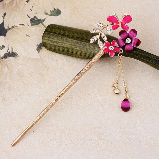 Vintage Rhinestones Drop Oil Butterfly Flowers Chain Hair Stick Pins Hairpins for Women Girls Hair Accessories