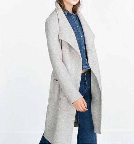 2015 Autumn Winter New Genuine Womens Fashion Light Grey X-Long Wool Loose Wrapped Oversized Coat Cardigan large lapel woolen