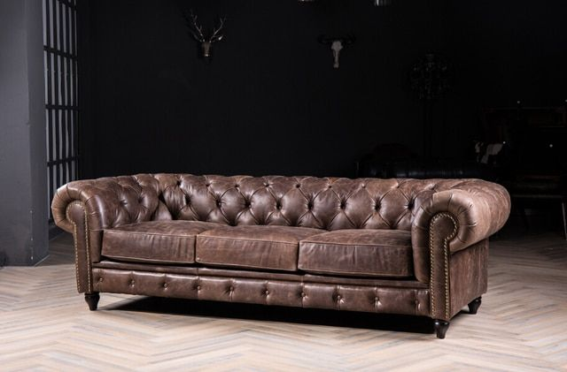 Chesterfield sofa with vintage italian leather for antique style sofa /Genuine leather sofa (3seater)