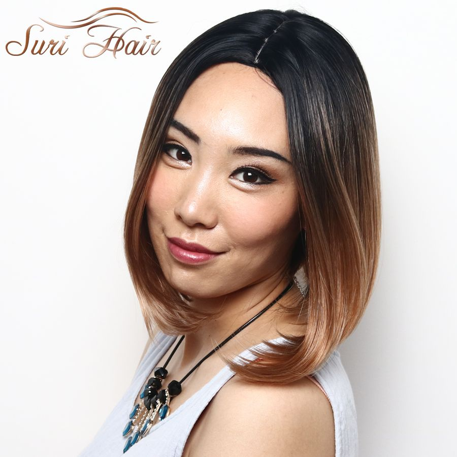 Suri Hair T1b/30 Ombre Bob Wig Medium Straight Cut Women Synthetic Heat Resistant Wig For African American 12 inch