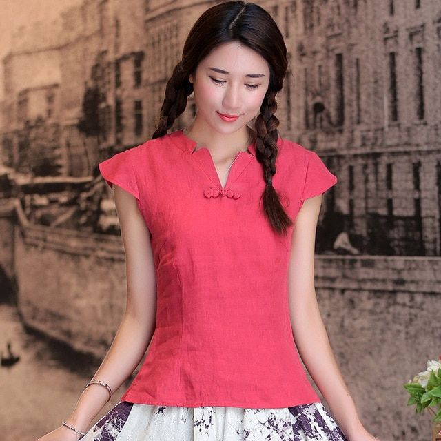 National Style chinese Pure Linen Shirt Tradition chinese cheongsam top Tang Suit Top blouse 5 colors Mujer Camisa S M L XL 2XL