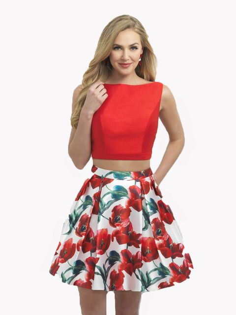 2017 Floral Two Piece Homecoming Dresses Short Mini Red Gown 8th Grade Prom Dresses Plus Size Satin Vestido De Festa Curto