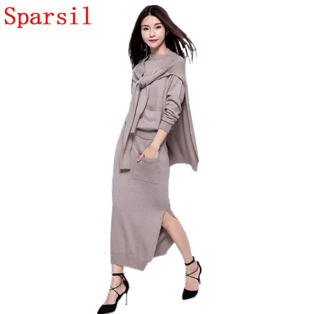 Sparsil Women's Autumn Cashmere Blend Knitted O-Neck Sweater+Long Skirt+Fashion shawl/Set Female Casual Knitwear Pullover