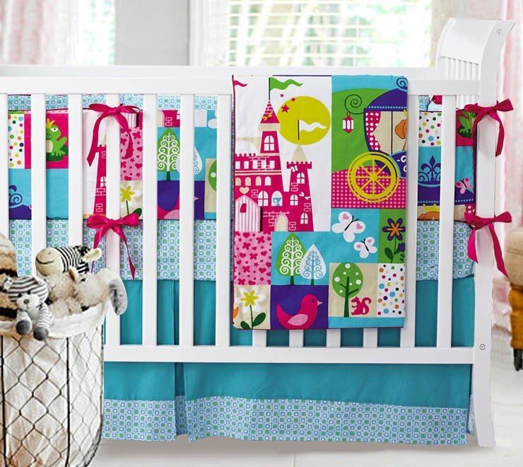 wholesale Baby Crib Set Newborn Bedding Blanket Set Baby Nursery Crib Bumper Quilt Fitted Sheet Dust Ruffle