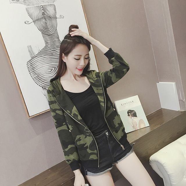 New womens blouse casual blusas femme Clothes female hoodie sweatershirt femininas Camouflage brand camuflaje camo bomber jacket