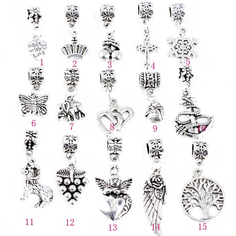 Free Shipping 1Pcs European Sliver Plated Metal Pendant Big Hole Beads Fit DIY Beads Pandora Charms Bracelet Jewelry For Women