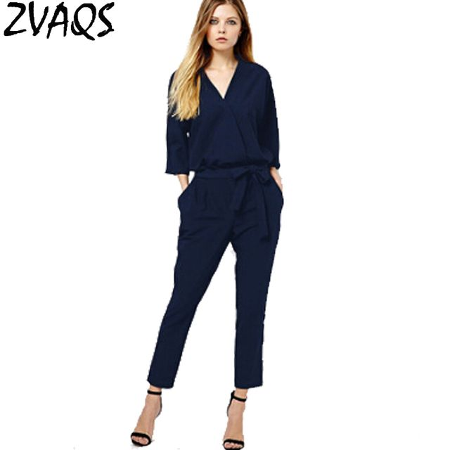 2017 New Europe Fashion V neck Collar Summer Chiffon Jumpsuit Women Long Sleeve Bodysuit Plus Size XS-2XL Women Rompers M695