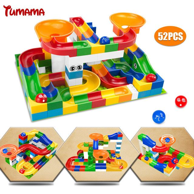 52Pcs Construction Marble Race Run Maze Balls Track Building Blocks Big Size Educational Bricks Compatible with Legoed Duploed