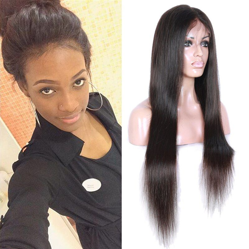 Full Lace Human Hair Wigs For Black Women Brazilian Virgin Hair Wig Straight Lace Front Wigs With Baby Hair Glueless Lace Wigs