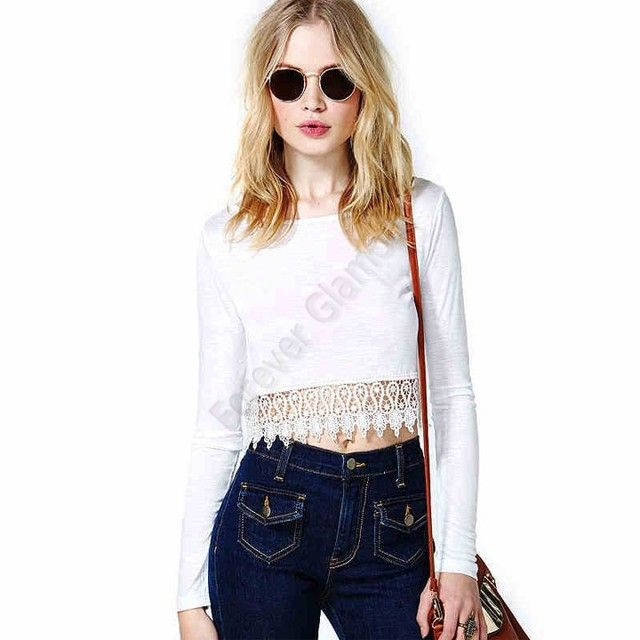 DropShipping New T Shirt Women Sexy Crochet Bare Midriff Tops For Women Lace Long Sleeves Shirt White Lace Crop Top SV005868 *9y