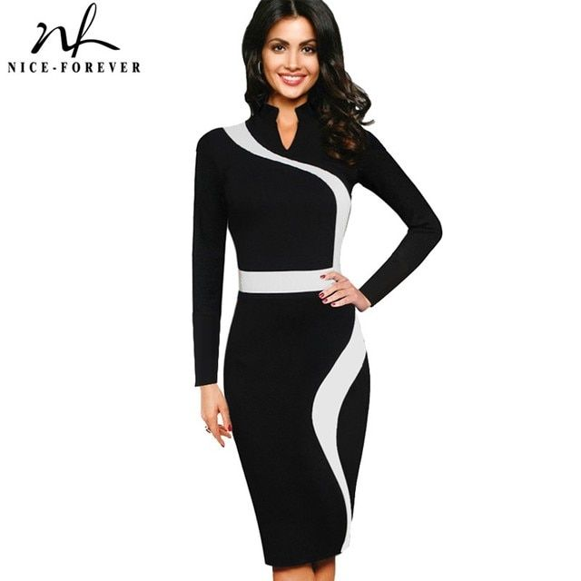 Nice-forever Vintage Patchwork Stylish Elegant Casual Work Short Sleeve V-Neck Bodycon Women Office Pencil Slim Dress B320
