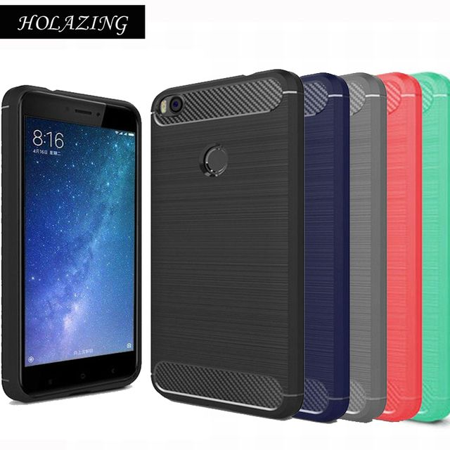 "HOLAZING Glossy Rugged Full Body Armor Case for Xiaomi Mi Max 2 6.4"" Anti-Shock Absorption Luxury Carbon Fiber Design Cover"