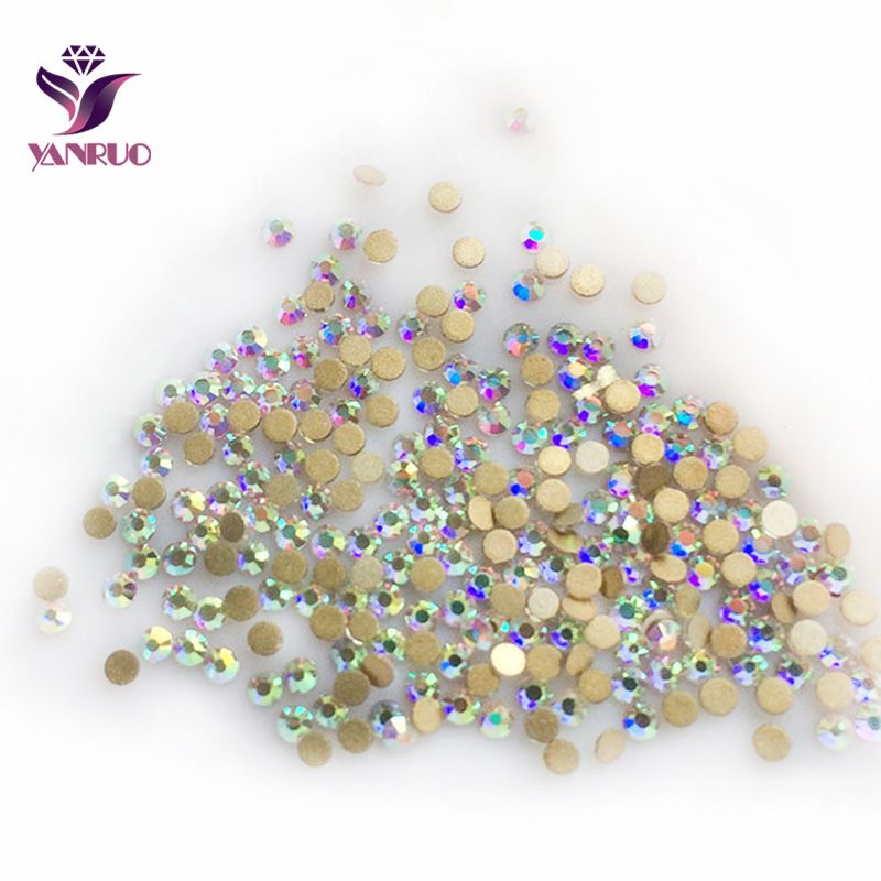 YANRUO Mix AB Crystal Stones Flat back Strass Non Hot Fix Rhinestones Nail Art Decorations and Clothes Flatback DIY