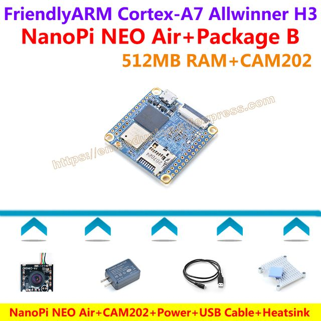 Quad-core Cortex-A7 FriendlyARM NanoPi NEO Air(512MB RAM)+CAM202+USB Power adapter+USB Cable+Heatsink=NanoPi NEO Air Package B