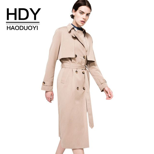 HDY Haoduoyi Solid Khaki Women Street Casual Coats Autumn Turn Down Collar Double Breasted Outwears Natural Loose Trench Coats