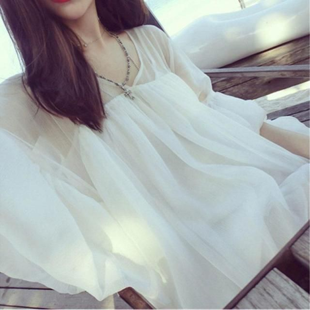 2016 Summer New European Ruffle Blouse Women's Fashion Ultra-thin Solid White Chiffon Shirt Female Wholesale Wrinkles