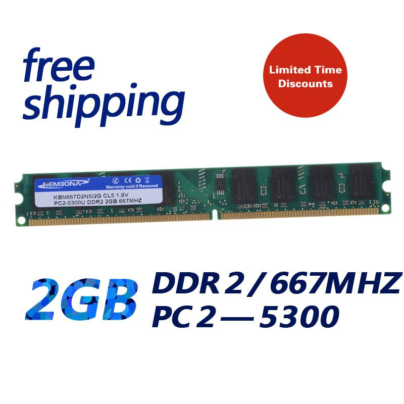 KEMBONA brand new pc desktop ddr2 2gb 667mhz 2g LONG-DIMM RAM MEMORY Fully compatible with Intel and for A-M-D Chip motherboard