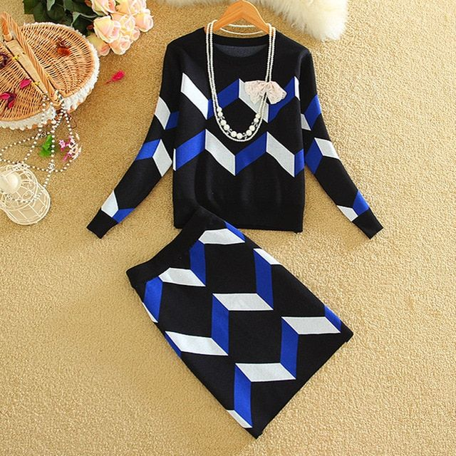 New Autumn Winter Geometric Knitted Sweater Top and Skirt Two-piece Set Suits Slim Package Hip Women Knitwear Sets Skirt Female