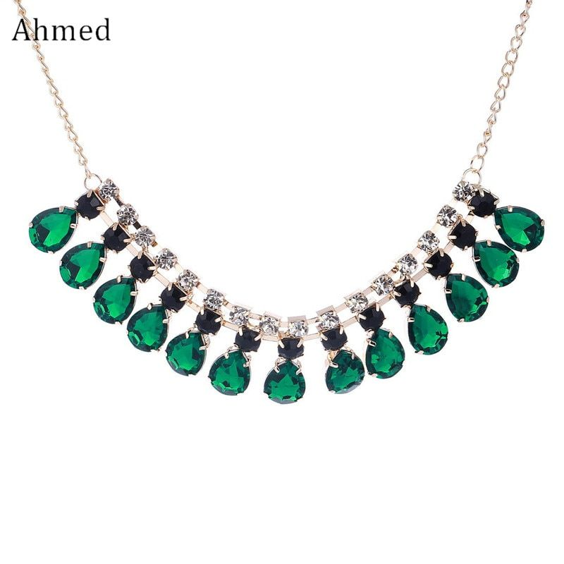 Ahmed Jewelryy 2017 New Fashion Gem statement Gold Color Necklaces & Pendants choker necklaces for women