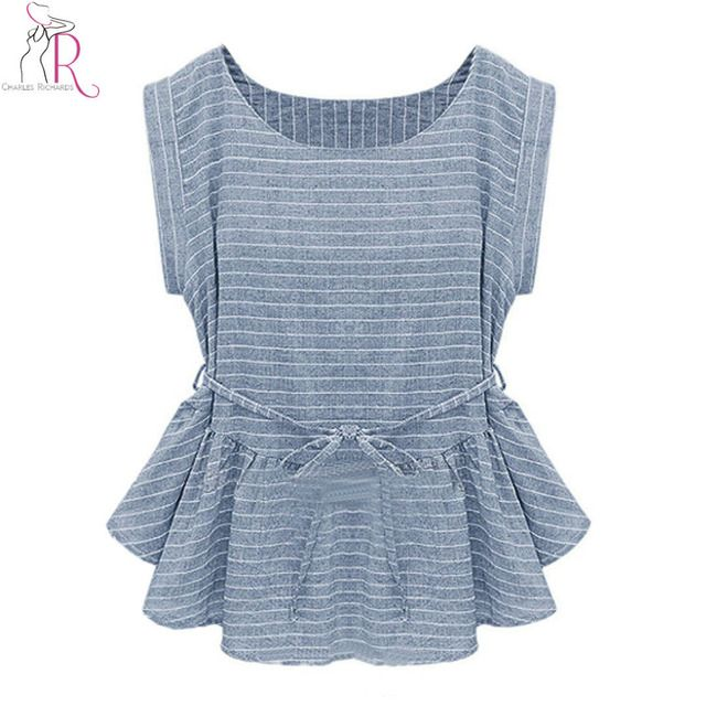 2017 Spring New Women Fashion Light Blue Short Sleeve Stripes Peplum Ruffle Hem Loose Casual Blouse Top
