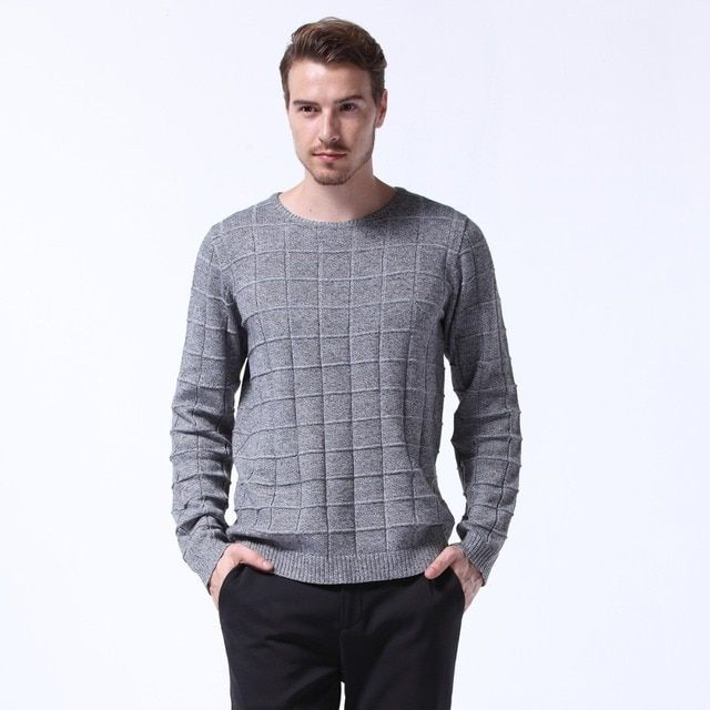 Solid Grey Plaid Sweater Men O Neck Pullover Men Pull Homme Long Sleeve Mens Sweaters Casual Knitted Male Sweater Men MK1074
