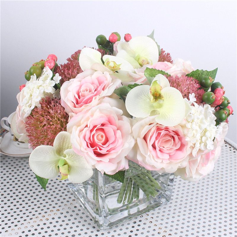 1 Set mix hydrangea orchid silk artificial roses bridal bouquet DIY wedding home table room decor fake peony flores artificiales