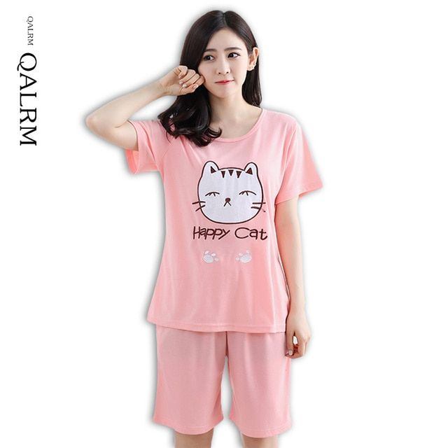 QALRM Brand Summer Women's Pajamas Set Cartoon pink cat Short Sleeve Cotton Girls Pyjamas Mujer Lady Casual Home Clothing M-3XL