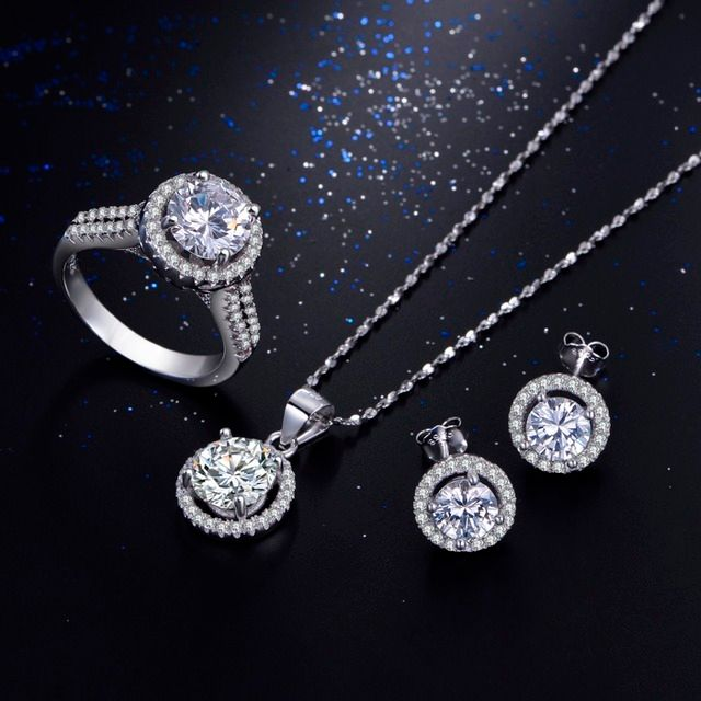 95% off Wedding Jewelry Sets for Brides 925 Sterling Silver AAAAA Level CZ Stud Earrings Ring Necklace Bridal Jewelry Set