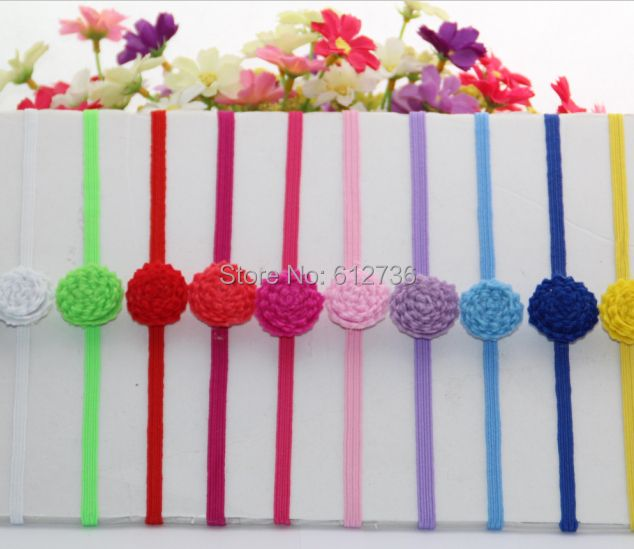 "100pcs/lot  New Arrival 1"" Tiny Felt Flower 1/4'' (6MM) Width Skinny Elastic Headband for Baby and Children Hair Accessory"