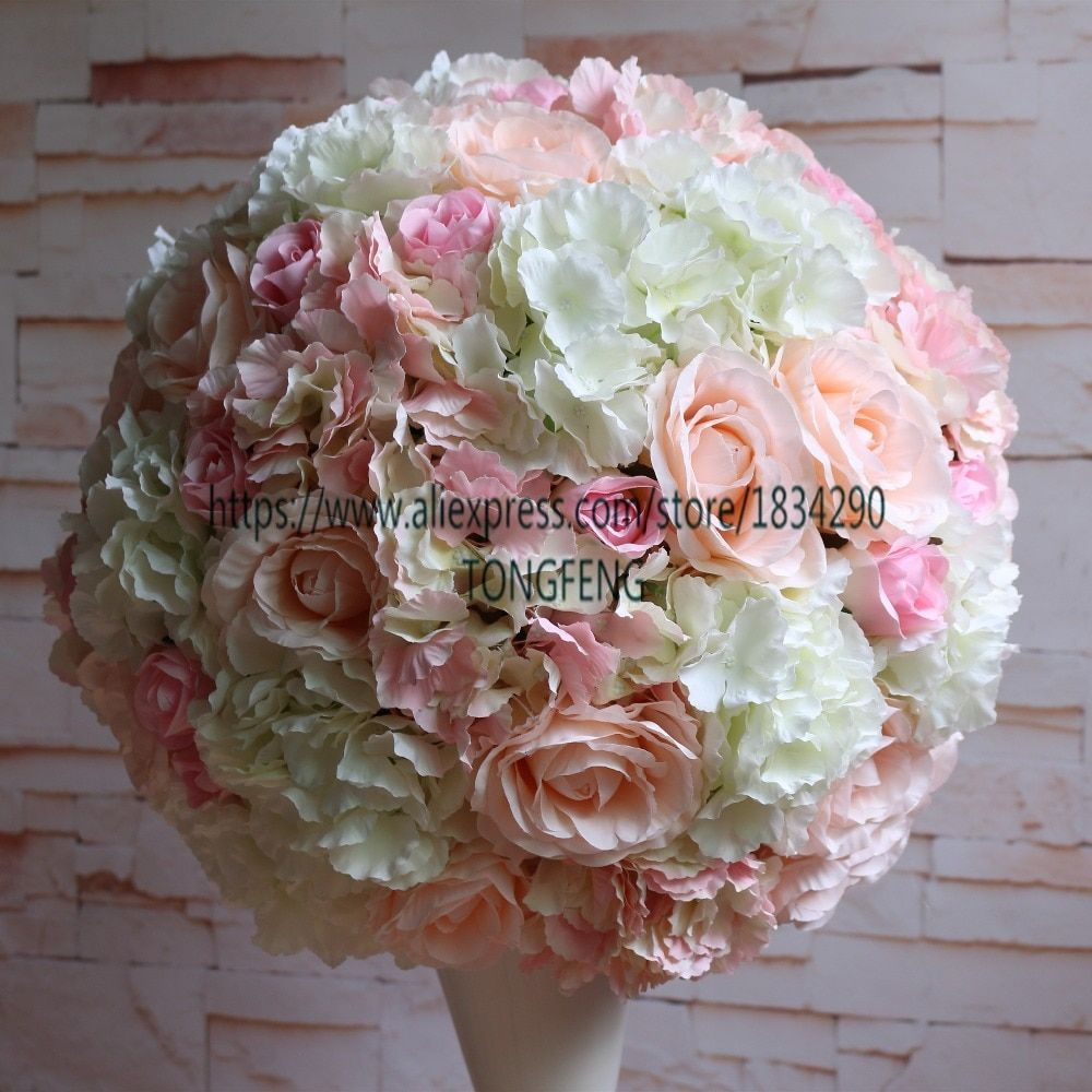 45cm 2pcs/lot Rose flower wall wedding decoration Artificial 2/3 round flower ball wedding table centerpiece flower  TONGFENG