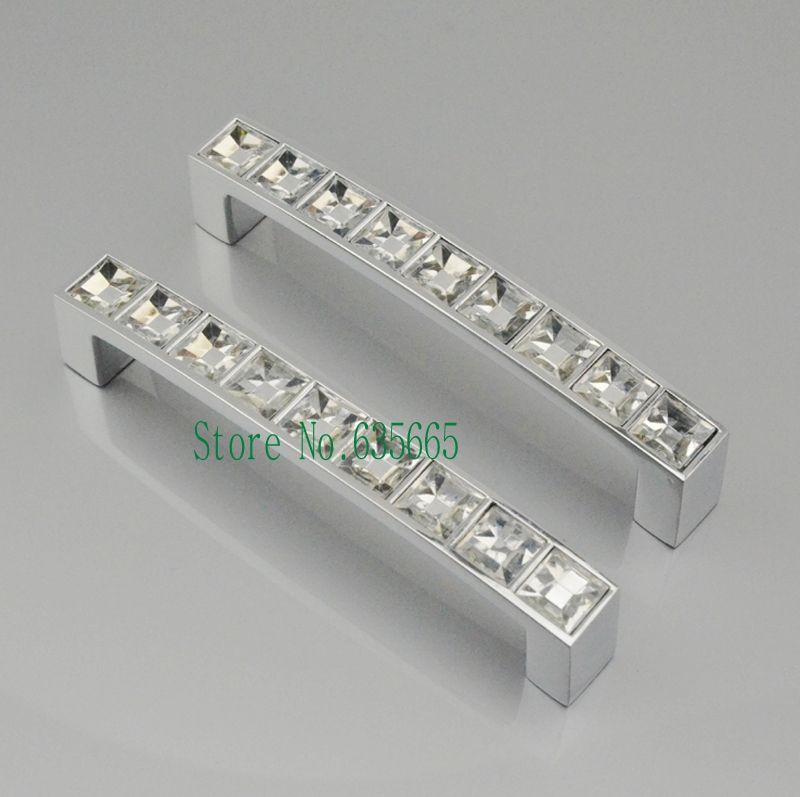 96MM Crystal Diamond Furniture Hardware Handle Sliding Door Drawer Knobs Wardrobe Kitchen Cabinets Cupboard Dresser Pull Handles