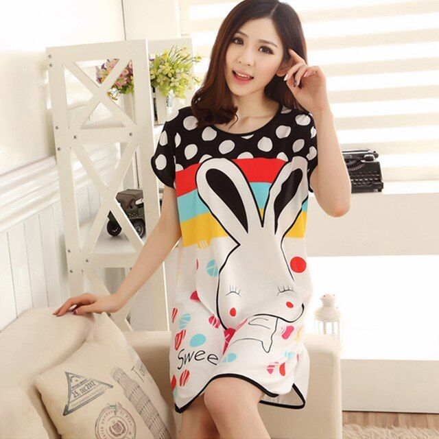 Wholesale Cartoon Women's Polka Dot Sleepwear Short Sleeve Sleepshirt Cute Nightdress