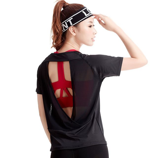 Dry Fit Sport Shirts Women Yoga Top Sexy Female Short Sleeve Running And Fitness Shirt Sportswear New Gym Sports Suits