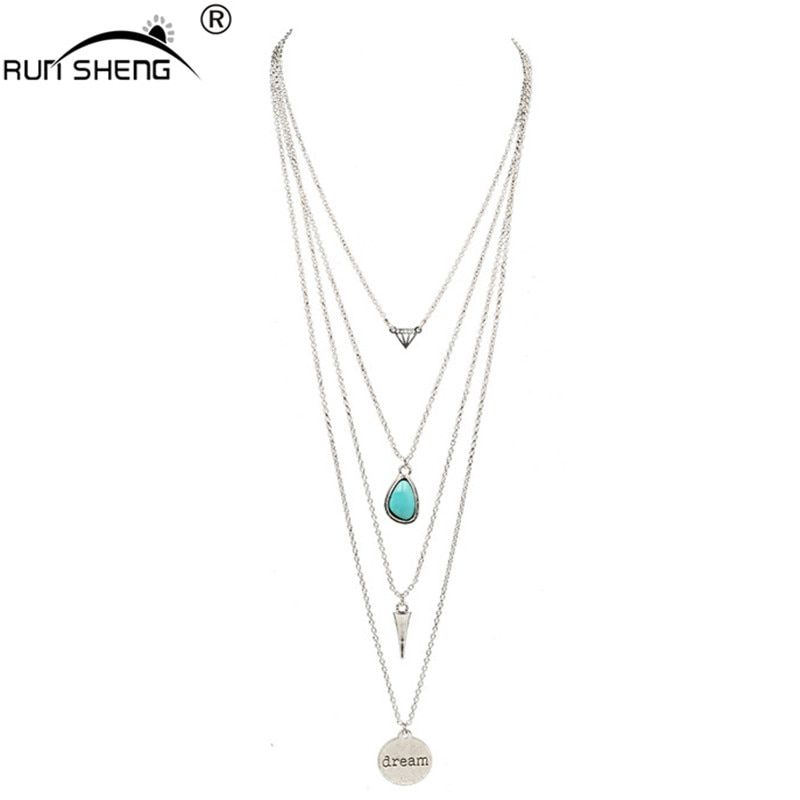 2017 Fashion Long Multi Layer Necklace & Pendants Jewelry Vintage Gold Silver Color Necklace For Women collier jewelry