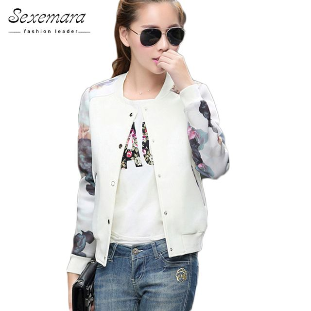 2017 Brand Tops Flower Print Girl Plus Size Casual baseball Jacket Women Sweatshirt Button Thin Bomber Long Sleeves Coat Jackets