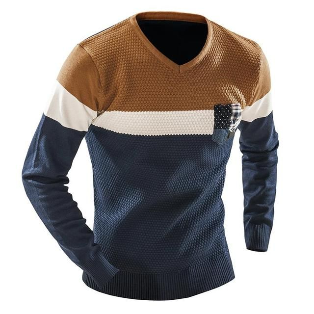 QINGYU Male 2018 Men'S Fashion Mixed Colors Sweater Men Leisure Slim Pull Homme V-Neck Long-Sleeved Sweater Solid XXL