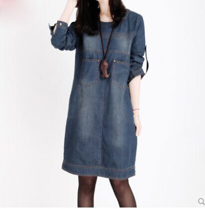 Spring and autumn European and American big size women mill white long-sleeved denim dress vintage denim dress