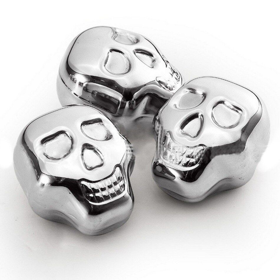 5pcs/lot Cool Skull Shaped Ice Cubes Stainless Steel Whiskey Ice Drink Wiskey/wine/beer Cooler Appliances for Bar Accessories