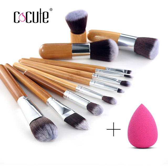 Cocute 11 Pcs Bamboo Brushes Handle Makeup Eye shadow Blush Concealer Brush Set With Face Makeup Sponges Puff