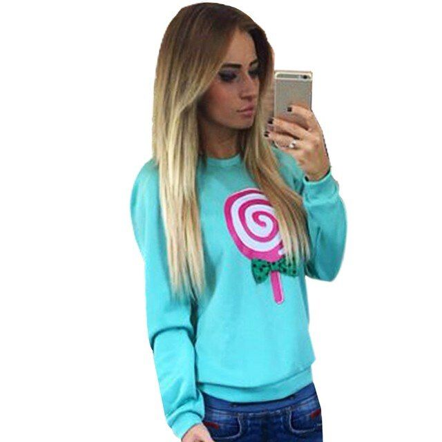 2016 New Stylish Ladies Women  Sweatshirt Casual O-neck Long Sleeve Print Cute Tops Hoodie