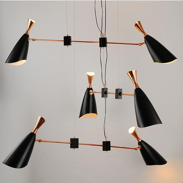 Italy designer modern pendant light art decorative suspension lighting  3layer 6 head black+gold with LED edision bulb