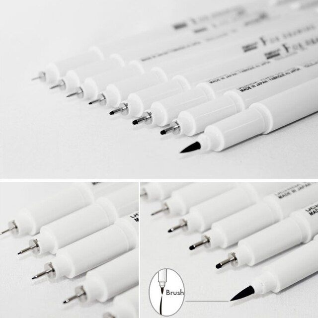 Marvy Sketch Liner Brush 0.03mm/0.05mm/0.1mm/0.3/0.5/0.8/1.0mm Water Resistant Gundam Drawing Pen Design Comic Painting Supplies