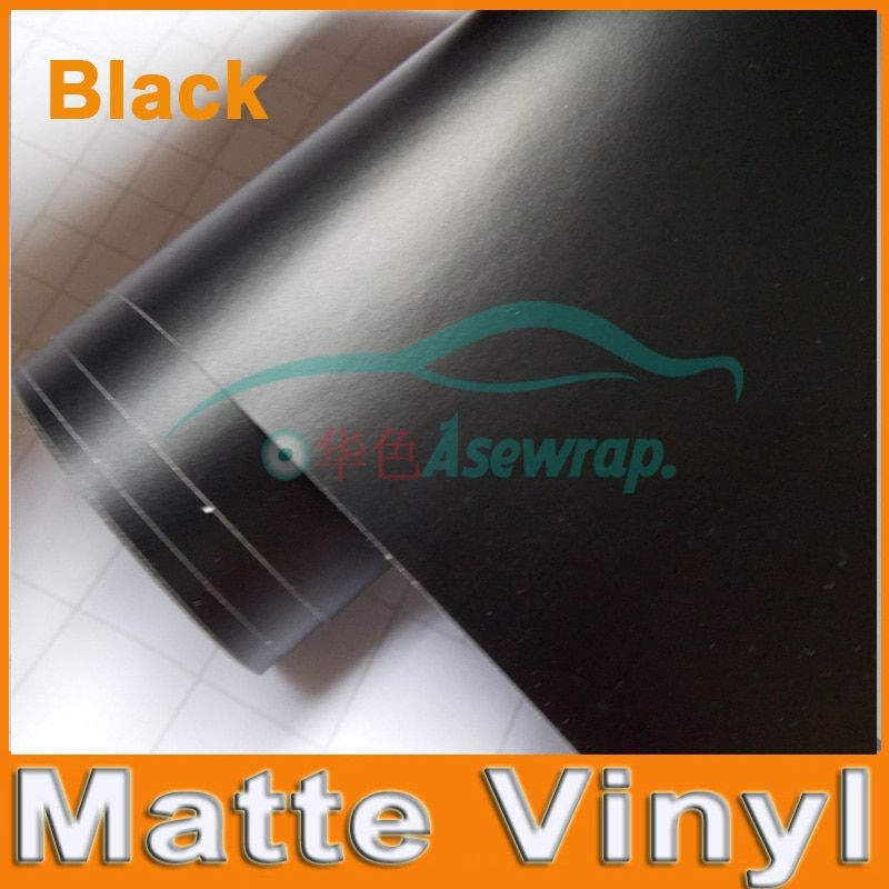 Premium Black Matte Vinyl Wrap with Air Bubble Free Satin Matt Black Foil Car Wrap Film Vehicle Sticker with different size/Roll