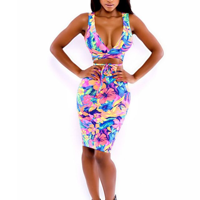 Summer Style Sexy Women Clothing Set Two Piece Set Bodycon Ladies Midi Dress & Tops