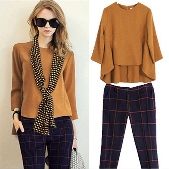 2 Piece Set Women Suit 2015 Large Size Loose Long-sleeved Shirt Crop Top Woman's Clothing Set Plaid Pantyhose Blouses QT048