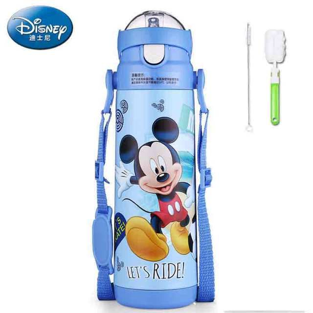 Disney Thermos Bottle for kids Mickey Thermocup Thermal Cup With Straw Stainless Steel Cup Water Bottles Milk Feeding Thermos