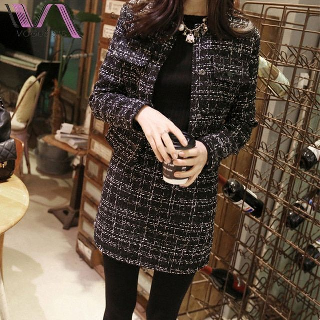 VOGUE SIS Korean 2 Piece Sets Women Button O-Neck Full Wool Coat Top Package Hip Skirt Winter Women Skirt Sets Clothes Wholesale