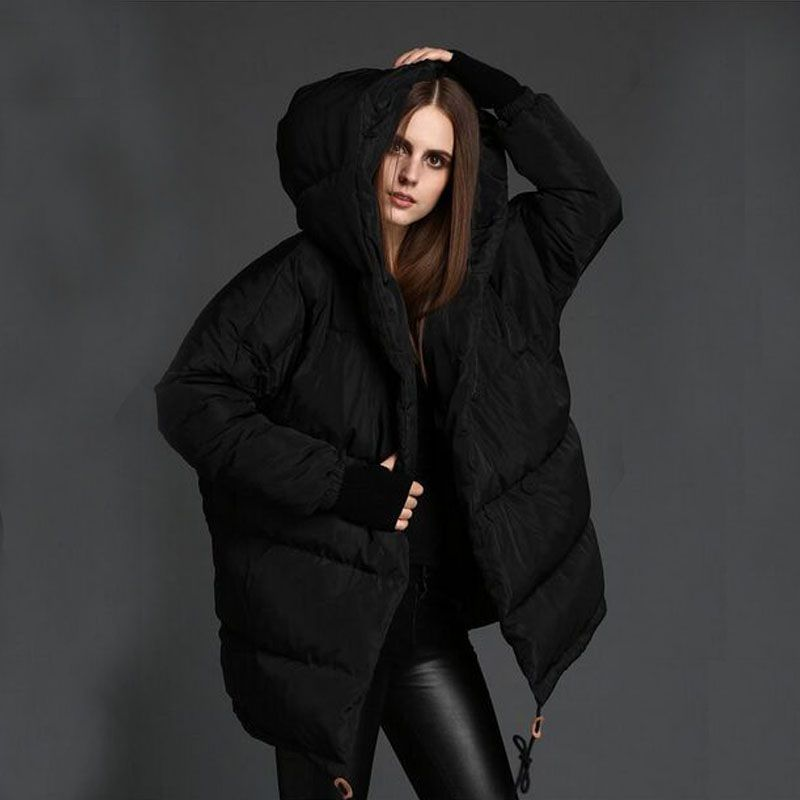 Winter Jacket Women 2018 New Fashion White Duck Down Parka Loose Cute Hooded Jacket Plus Size Overcoat Snowear