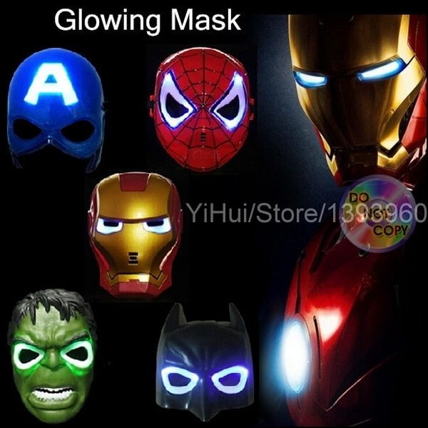LED Glowing superhero children mask for kid Avenger Marvel spiderman ironman captain america hulk batman party cartoon mask