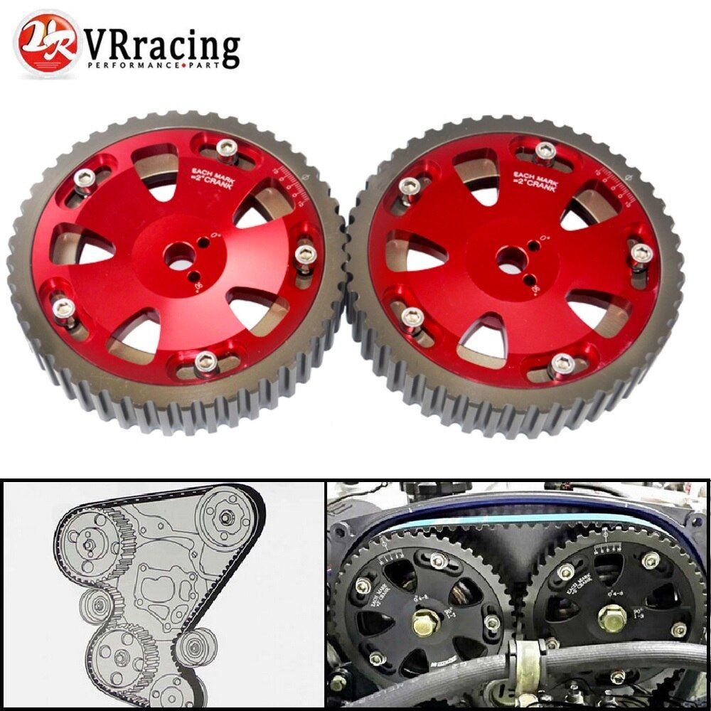 VR RACING - 2pcs Cam Gears Pulley For MITSUBISHI EVO 1 2 3 4 5 6 7 8 9 ECLIPSE 4G63 RED VR6538R